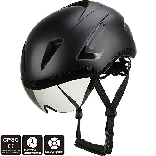 BASE CAMP AIRCROSS Road Bike Helmet with Detachable Shield Visor - Size 21.25-22.83 Inches