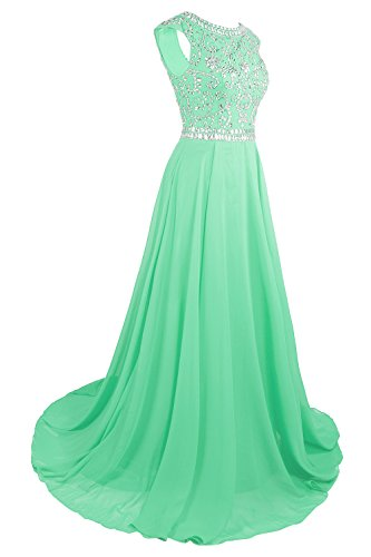 MsJune Guest Dresses 2017 Gowns Long Bridesmaid Cap Sleeves Mint Prom Beaded Wedding RqHn6ZRw
