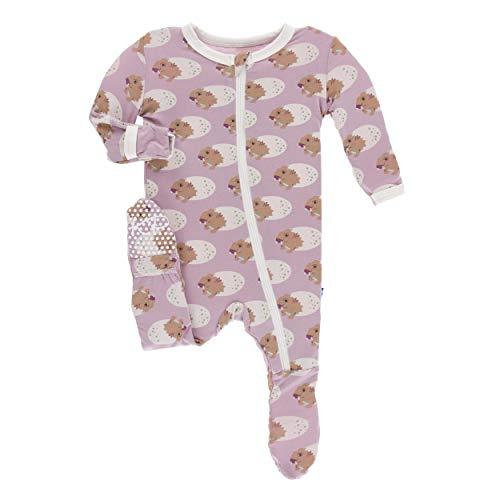 Kickee Pants Little Girls Print Footie with Zipper - Sweet Pea Diictodon, 0-3 Months ()