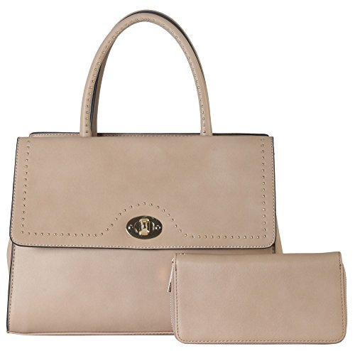 rimen-co-pu-leather-front-turn-lock-flap-pocket-large-studded-dcor-tote-with-wallet-2-pieces-set-wom