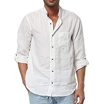 Makkrom Mens Linen Shirts Long Sleeve Button Down Roll-up Stand Collar Cotton Casual Loose T Shirts with Pocket at  Men's Clothing store