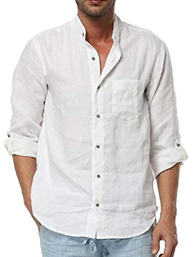 Mens Linen Shirt Casual Button Down Long Sleeve Cotton Curved Hem Lightweight Basic Regular Fit Summer Beach - Shirt Mens Plain Linen