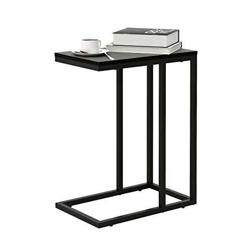 WLIVE C Shaped End Table, Snack Side Table for Sofa Couch and Bed, Black