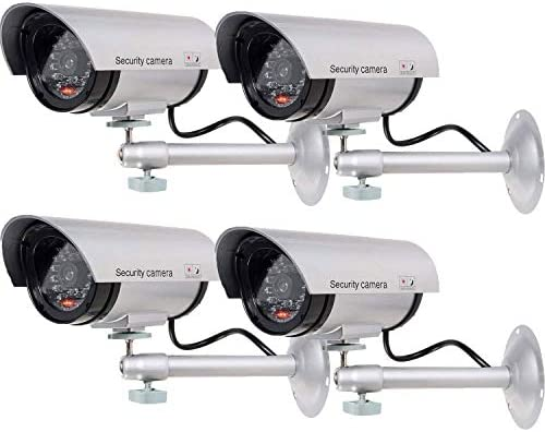 WALI Bullet Dummy Fake Surveillance Security CCTV Dome Camera Indoor Outdoor with one LED Light + Sticker Decals (TC-S4), 4 Packs, Silver