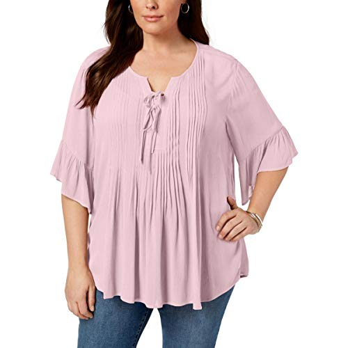 Style & Co. Womens Plus Boho Lace Up Peasant Top Pink 0X from Style & Co.