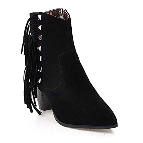 1a6352c4f32 CHFSO Women s Fashion Solid Suede Fringe Studded Pointed Toe Zipper Mid Chunky  Heel Ankle Boots on