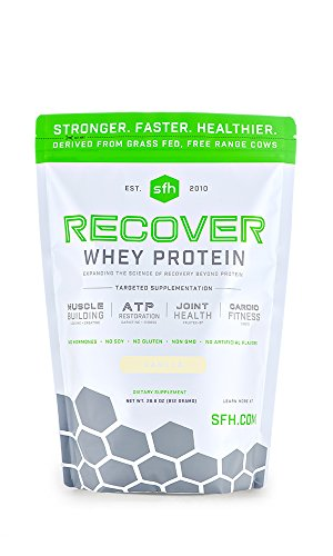 SFH Recover Whey Protein Powder   Great Tasting 100% Grass Fed Whey for Post Workout   All Natural   No Soy, No Gluten, No RBST, No Artificial Flavors (Bag, Vanilla)