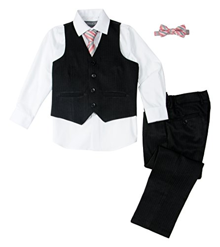 Spring Notion Baby Boys' 5 Piece Pinstripe Vest Set Christmas White 12M