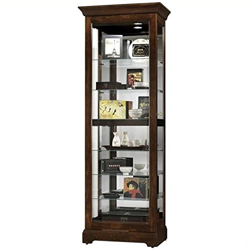 BOWERY HILL Cherry Bordeaux Slide Curio Cabinet