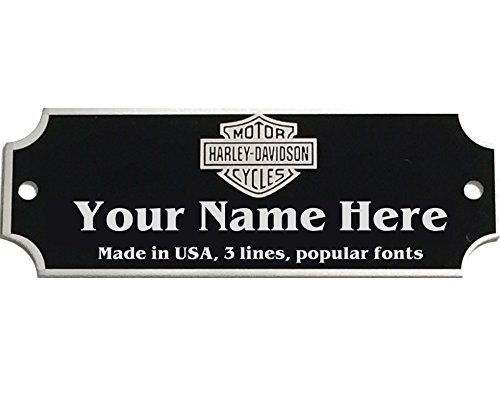Custom Personalized Engraved Silver Character on Black Aluminum Name Plate Nameplate Desk Tag Frames Notched Corners with Screws 0.875