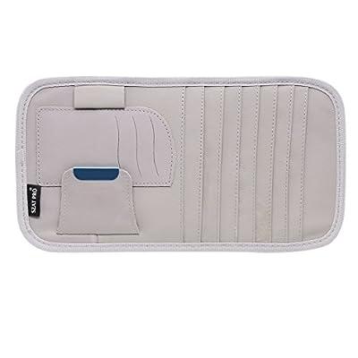 SZAT PRO Leather Car Sun Visor CD Storage Cases Clip Gray: Automotive