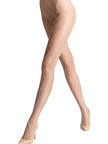 Ypser Sexy Big Cross Fishnet Tights Seamless Nylon Large Mesh Stockings Hollow Out Pantyhose (White Fishnets)