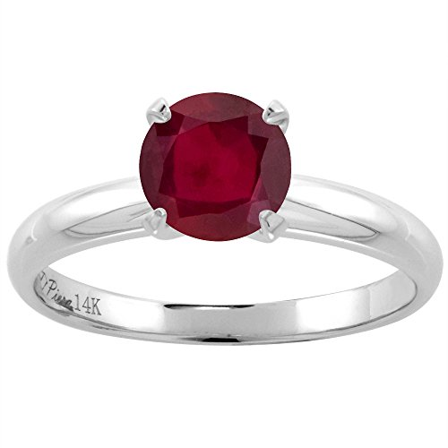 - 14K White Gold Enhanced Genuine Ruby Solitaire Engagement Ring Round 7 mm, size 7