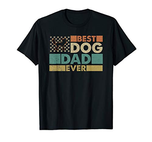 Vintage Best USA Chinese Crested Dog Dad Ever American Flag T-Shirt