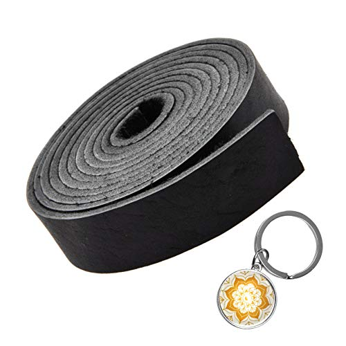 - Mandala Craft Genuine Leather Strap, Flat Cowhide Strip Rope for Bags, Drawer Pulls, Handle Wraps, Ribbons, Clothing, Belts, Jewelry Making (1 inch Wide, 72 inches Long, Black)