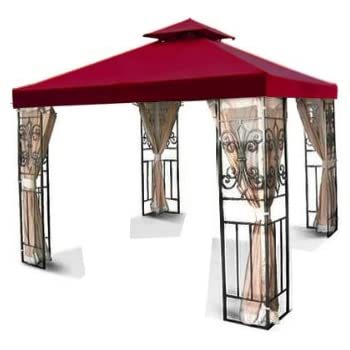 New MTN Gearsmith 12u0027x12u0027 Two Tier Replacement Garden Gazebo Canopy Top Sun Shade - Burgundy  sc 1 st  Amazon.com & Amazon.com : New 12u0027x12u0027 2-Tiered Replacement Gazebo Canopy Top ...