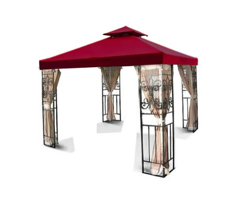 All Weather Heavy Duty Red Color 2 Tier Backyard Patio Sun Shade 10x10 Ft Garden Canopy Gazebo Replacement Top