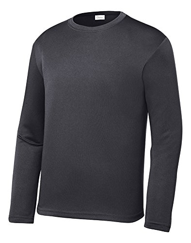 - Opna Youth Athletic Performance Long Sleeve Shirts for Boys or Girls Moisture Wicking, Iron Gray, Small