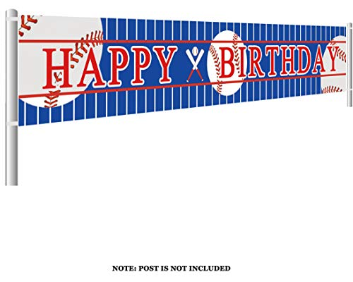 Colormoon Large Baseball Happy Birthday Banner, Sports Theme Birthday Party Supplies -