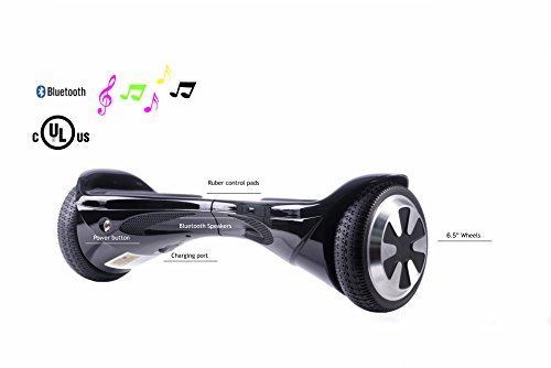 SAVA X1 - UL Certified 2272 Self BalancingScooter/Hoverboard with Bluetooth Speaker LED Lights Free Carry Case Firesafe Battery (Black, 6.5)
