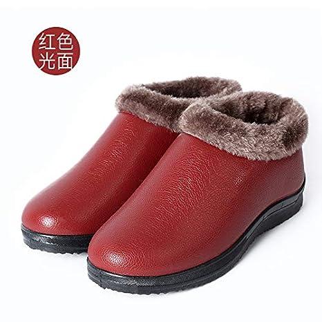 WXMTXLM Zapatos de piel antideslizante de invierno de madre ...