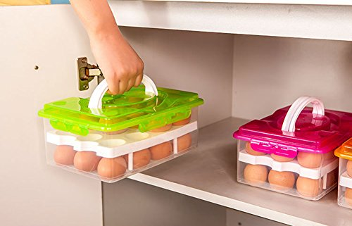 RMay Store HOTUMN Egg Carrier Egg Container 2 Tiers Eggs Holder with Handle Holds 24 Eggs for Refrigerator Freezer Storage (Green) by RMay Store (Image #5)