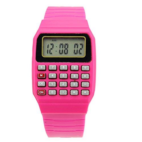 HeroNeo® Cute Children Silicone Date Multi-Purpose Electronic Wrist Calculator Watch (Hot Pink)
