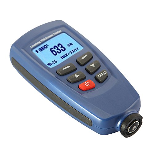 Coating Thickness Gauge Tester with 0 to 1250 Micrometer Range, F/FN Sensor Probe, Magnetic Induction/Eddy Current Principle for Zinc Anodizing Coatings Electroplater Automobile Painting - JVR TL36