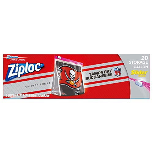 Freezer Buccaneers - Ziploc Brand NFL Tampa Bay Buccaneers Slider Gallon, 20 ct