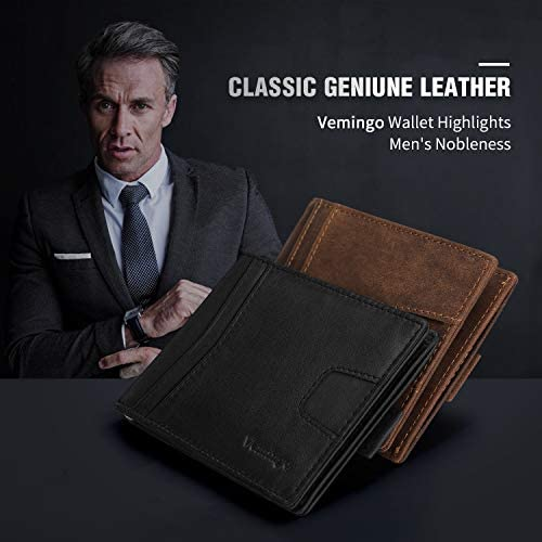 Vemingo Minimalist Slim Wallets for Men Genuine Leather Bifold Wallet with Money Clip RFID Blocking Front Pocket Wallet