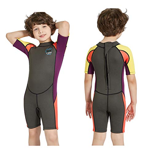 DIVE & SAIL Kids Wetsuit Shorty, 2.5mm Neoprene Thermal Swimsuit, Youth Boys and Girls Wet Suits for Snorkel Diving, Full Suit and Shorty Swimsuit (Boy's Shorty-Grey, Kids L Size) ()