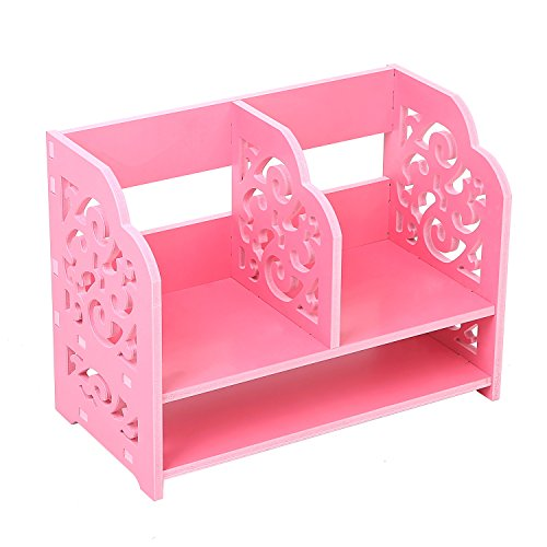 Pink Freestanding Organizer Bookshelf Rack / Desktop Stationary Storage