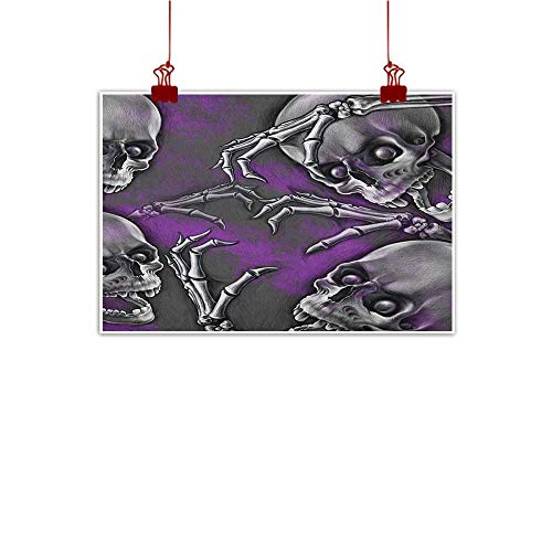 Home Wall Decorations Art Decor Skull,Scary Creepy Spooky Happy Smiling Skeleton with Boned Hand Artwork Print, Purple Grey and Black 36