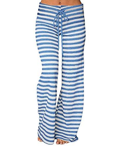 Fluide À Rayures Bleu Pantalon Palazzo Loose Casual Large Taille Yuandian Basse Impression Yoga Serrage Patte Jambe Baggy Elephant Évasé De Femme Cordon TIw4qtxp
