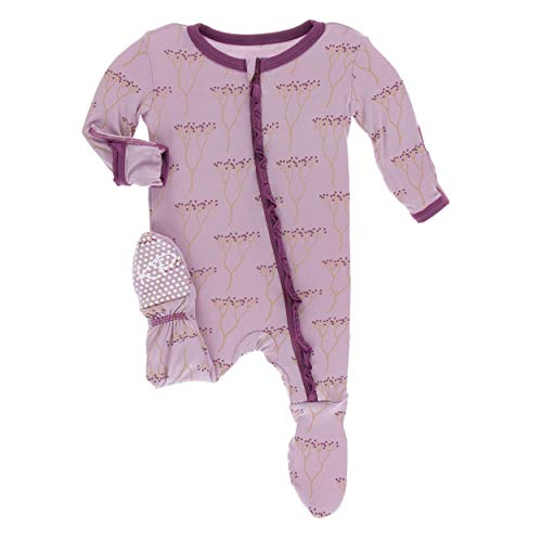 Kickee Pants Little Girls Print Classic Ruffle Footie with Zipper - Cooksonia, Newborn