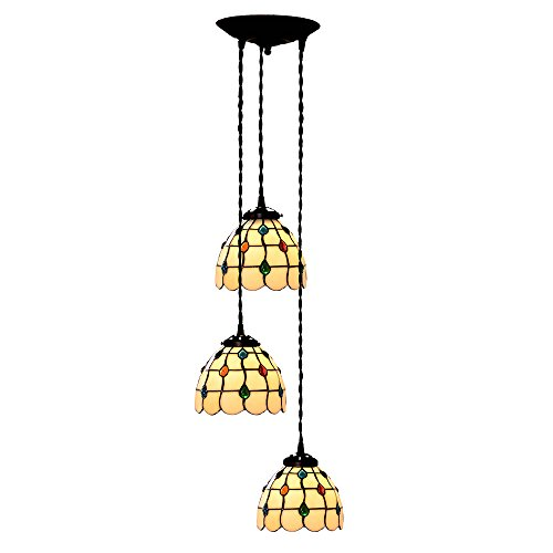 Bieye L10149 7-inches Jewels Tiffany Style Stained Glass Ceiling Pendant Fixture with 3-Light (Multi-colored)
