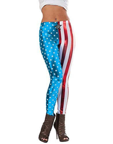 Rubie's Women's Marvel Universe American Dream Adult Metallic Leggings, Multi, One Size