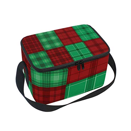 (Flannel Red Green Plaid Texture Vector Large Capacity Insulated Lunch Tote Bag Portable Travel Picnic School Handbag Cooler Warm Lunchbox for Kids Children Girls Boys Women Men)