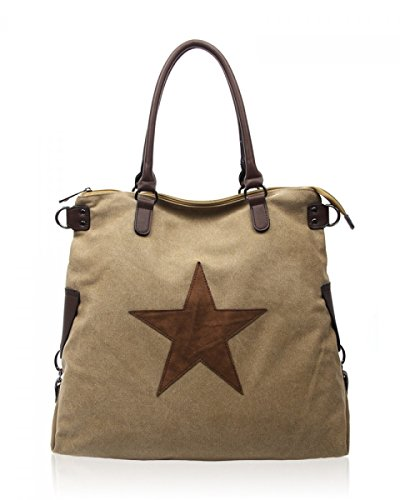 Womens for Shoulder Office Holiday Canvas Amber Star Large Taupe Bag rw7SIrYqx