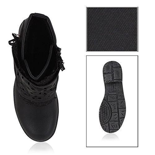 Stiefelparadies Gefütterte Damen Biker Boots Stiefeletten Winterschuhe Metallic Prints Nieten Schnallen Übergößen Schuhe Flandell Schwarz Netz