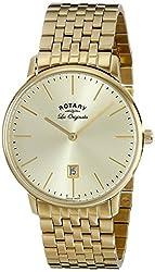 Rotary Men's gb90052/03 Analog Display Swiss Quartz Gold Watch