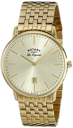 Rotary Men's gb90052/03 Analog Display Swiss Quartz Gold Watch