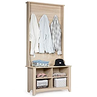 Tangkula Hall Tree, Entryway Wooden Hall Tree with Storage Bench, Entryway Storage Organizer, Coat Rack Shoes Bench with 3 Hooks, Perfect for Entryway, Dorm Room, Apartment (Natural)