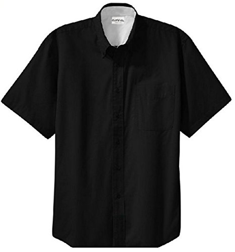 Clothe Co. Mens Short Sleeve Wrinkle Resistant Easy Care Button Up Shirt, Black/Light Stone, XL