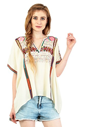 Colorful Embroidered Gypsy Boho Half Sleeve V Neck Shirt Blouse Womens Girls Misses Shirt Blouse - Top Embroidered Gypsy