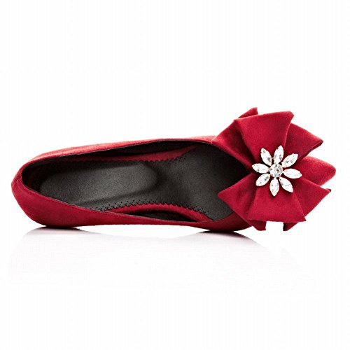 reizvoll Trichterabsatz Pumps modern Rot Shoes Nubukleder Schleife Mee mit Strass Damen Geschlossen Unpxqz4O