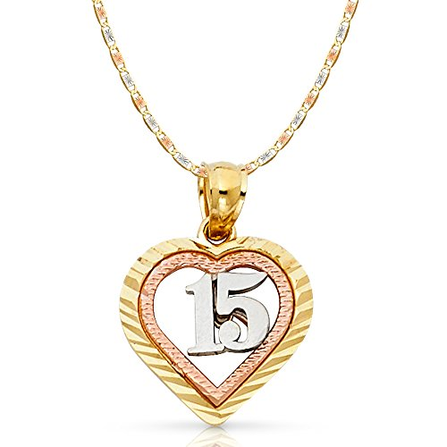 14K Tri Color Gold Sweet 15 Years Quinceanera Heart Charm Pendant with 1.5mm Valentino Chain Necklace - 16
