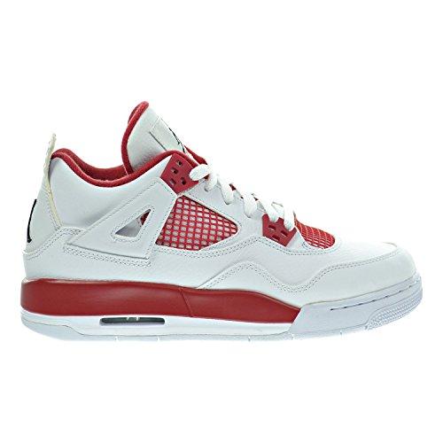 Air Jordan 4 Retro BG Big Kid's Shoes White/Black/Gym Red 408452-106 (5 M - Jordan 4 Red