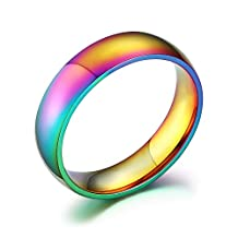 UM Jewelry High Polished Gay and Lesbian LGBT Pride Stainless Steel Ranibow Ring 6mm