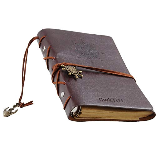 Daily Notebook, CWKTITI Vintage Retro Classic PU Leather Cover Bound Notebook Bookmarks with Metal Helm and Anchors for Diary & Journal.(Coffee)
